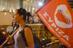 SYRIZA supporters celebrate on the night of the elections on May 6