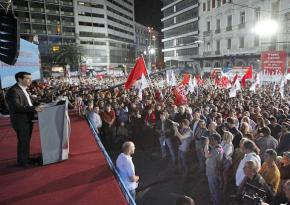 A mass rally for SYRIZA in Athens addressed by leading figure Alexis Tsipras
