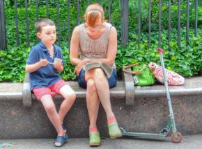 A single mother with her son in New York City
