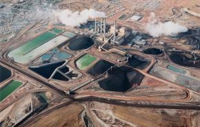 The Colstrip coal plant, just north of the Northern Cheyenne Indian Reservation, photographed in the mid-1980s