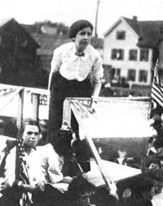 Elizabeth Gurley Flynn addressing strikers in Paterson, N.J. (1913)