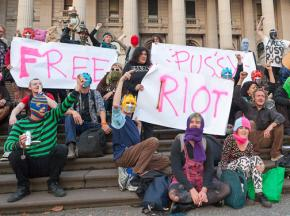 Activists in Melbourne, Australia, gather to show their support for members of Pussy Riot