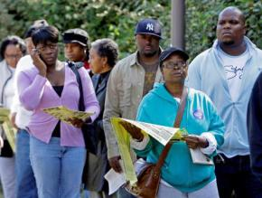 African Americans lined up to vote in Philadelphia in 2008