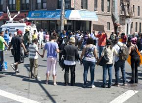 Protesters stop traffic to remember Shantel in the Church Avenue intersection where she was murdered