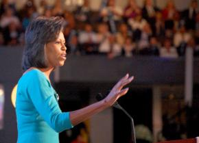 Michelle Obama addressing the Democratic National Convention