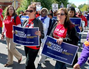 Chicago teachers and supporters march in solidarity with Wal-Mart warehouse workers in Elwood, Ill.