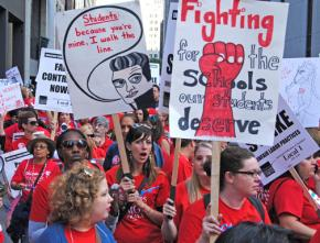Tens of thousands of striking teachers and their supporters pack the streets of downtown Chicago