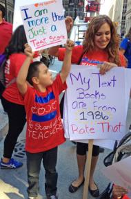 Parents and students showed their support for striking Chicago teachers at huge rallies