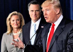 Ann and Mitt Romney share a stage with Donald Trump