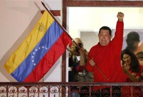 Hugo Chávez greets supporters in celebration after winning reelection