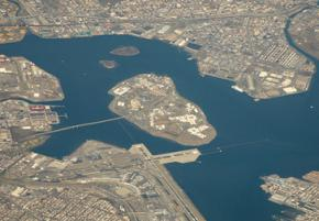 Rikers Island at the mouth of Long Island Sound, between Queens and the Bronx