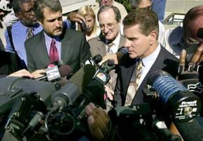 Defendants in the Oakland Riders case outside court after their criminal case in 2003