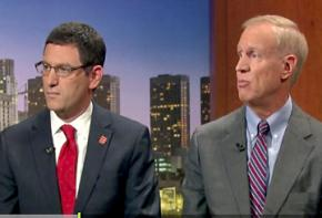 Jesse Sharkey (left) and Bruce Rauner during their debate on Chicago Tonight