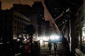 Darkness in lower Manhattan in the aftermath of Sandy