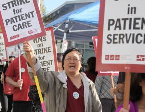 Striking nurses picket outside San Leandro Hospital