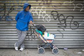 A homeless man left stranded by Hurricane Sandy