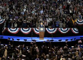 Barack Obama speaks at his Election Night victory rally