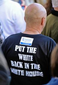 A Republican supporter at a rally for Romney and Ryan