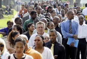 Waiting in line to enter a job fair