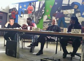 A panel of speakers at the conference on the New Jim Crow