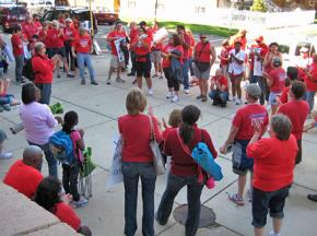 Teachers, parents and supporters gathered outside Gale Elementary during the Chicago Teachers Union strike