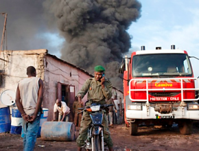 Smoke billows after a French air strike in Mali