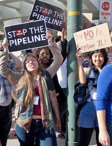 """Protesters in North Carolina call on Barack Obama to say """"no"""" to the Keystone XL pipeline"""