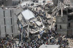 The collapsed eight-story factory building where hundreds of people died