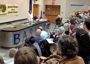 Chris Williams speaks to participants at the Ecosocialist Conference in New York City