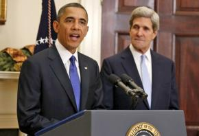 President Obama speaks to the press with Secretary of State John Kerry