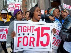 Chicago retail workers on the march during a day of walkouts and solidarity actions