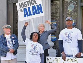 Alan Blueford's family and supporters rallying outside Oakland City Hall