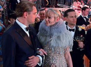 Left to right: Leonardo DiCaprio, Carey Mulligan and Tobey Maguire in The Great Gatsby