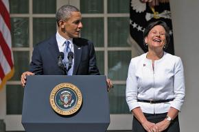 President Obama addresses a press conference with Commerce Secretary nominee Penny Pritzker