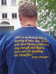 A T-shirt worn by a member of the NYPD's Warrant Squad