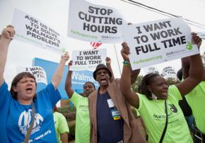 Walmart workers demand justice outside the corporate headquarters in Bentonville, Arkansas