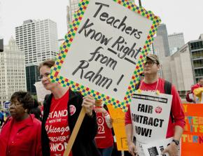 Striking Chicago teachers and their supporters rally against Emanuel's agenda for schools