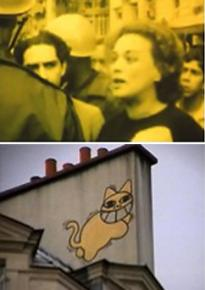 Stills from Chris Marker's A Grin Without a Cat, 1977 (top), and The Case of the Grinning Cat, 2004