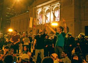 Occupy protesters in front of the Art Institute of Chicago