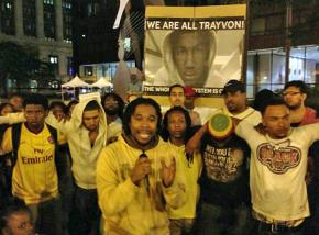 Participants in a Black Youth Project conference join protests in Chicago the night of the Zimmerman verdict