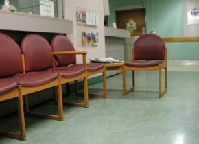 An empty hospital waiting room