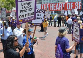 BART workers from SEIU and ATU on the picket lines
