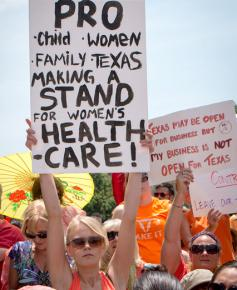 Protesters outside the Texas capitol building defend abortion rights