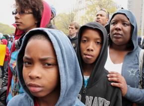 Gathered for a Justice for Trayvon Martin rally in Washington, D.C.