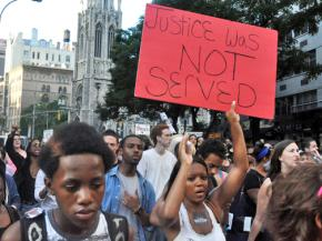 Marchers filled the streets around Union Square in New York City after Zimmerman was acquitted