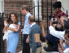 The royal baby and parents emerge from a hospital in London