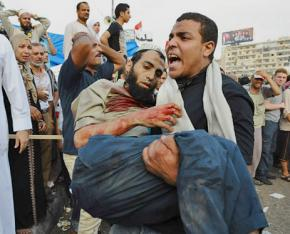 A victim of security forces that opened fire on protesters outside the Rabaa al-Adawiya mosque in Cairo