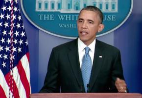 President Obama speaks at a White House press conference