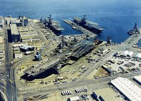 Aerial view of the San Francisco Naval Shipyard in Hunters Point in 1971