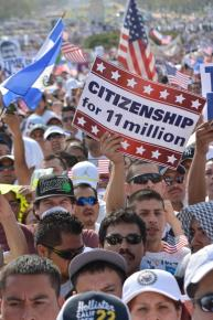 Immigrant rights activists marching on Washington in April